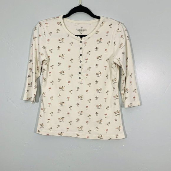Vintage 90's Cream Palm Tree Print Button Top